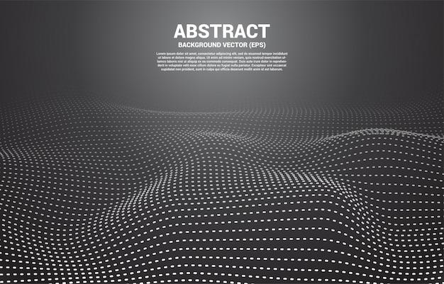 Punto e linea della curva del contorno digitale nero e onda con wireframe. sfondo astratto per il concetto di tecnologia futuristica 3d Vettore Premium