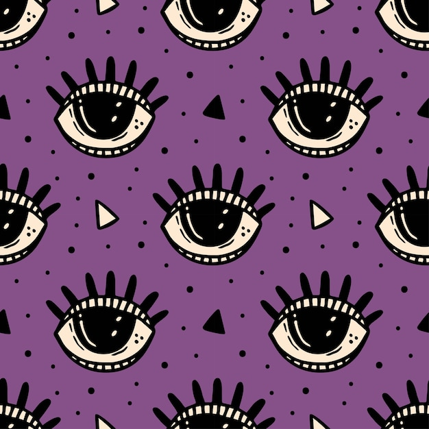 Occhio nero, simbolo magico. reticolo senza giunte di halloween. esoterico, soprannaturale, paranormale. Vettore Premium