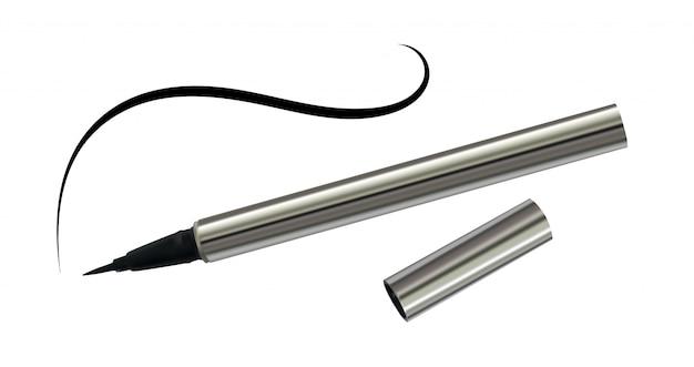Eyeliner nero in una custodia cromata con linea sottile isolata Vettore Premium