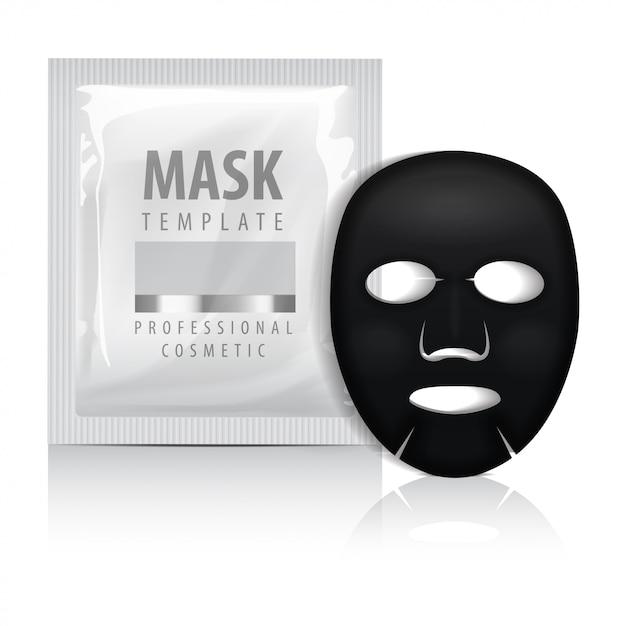 Maschera facciale nera con bustina. Vettore Premium