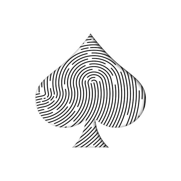 Impronta digitale nera a forma di seme di picche Vettore Premium