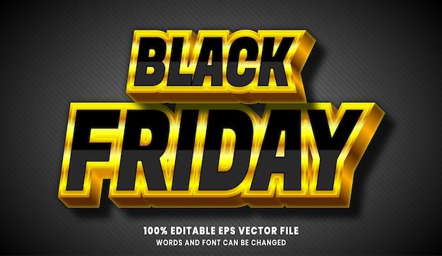 Effetto stile testo modificabile 3d venerdì nero Vettore Premium