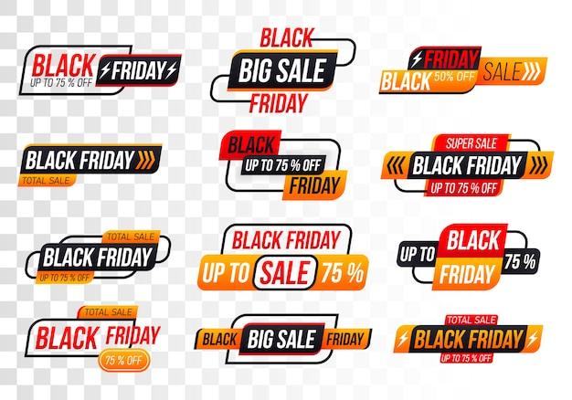 Banner del venerdì nero. Vettore Premium
