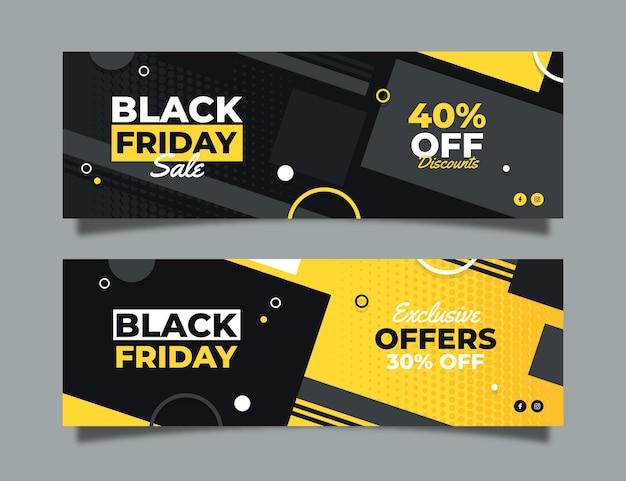 Banner venerdì nero in design piatto Vettore Premium