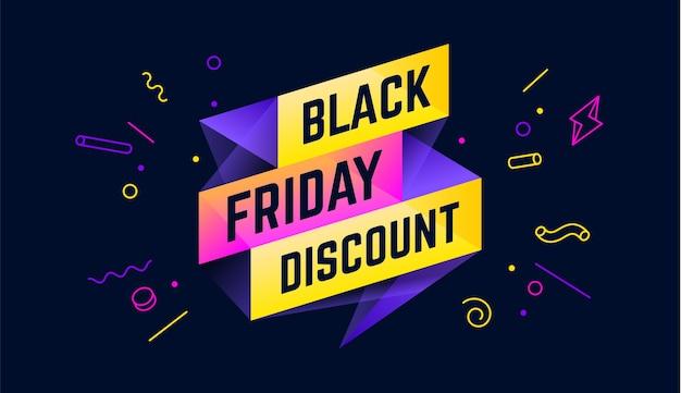 Sconto del black friday. banner di vendita 3d con testo sconto venerdì nero per emozione, motivazione. Vettore Premium