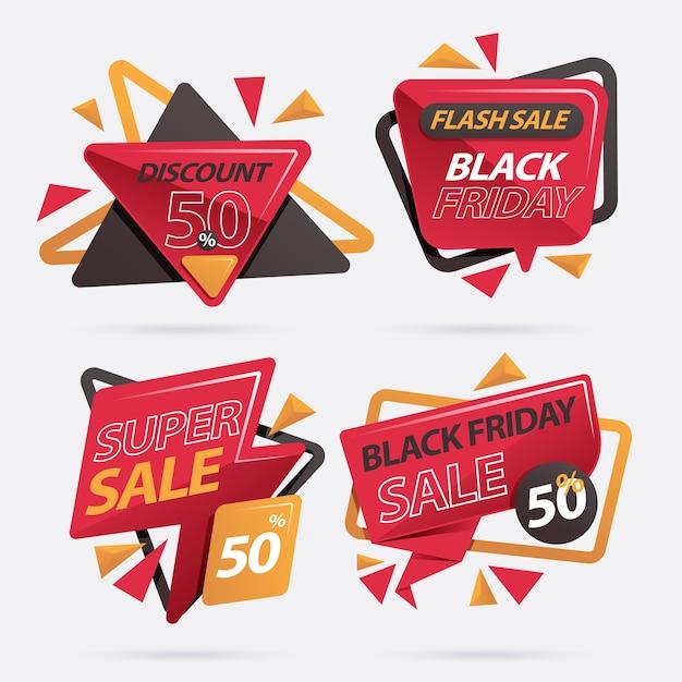 Prezzi da pagare di vendita di sconto di black friday isolati Vettore Premium
