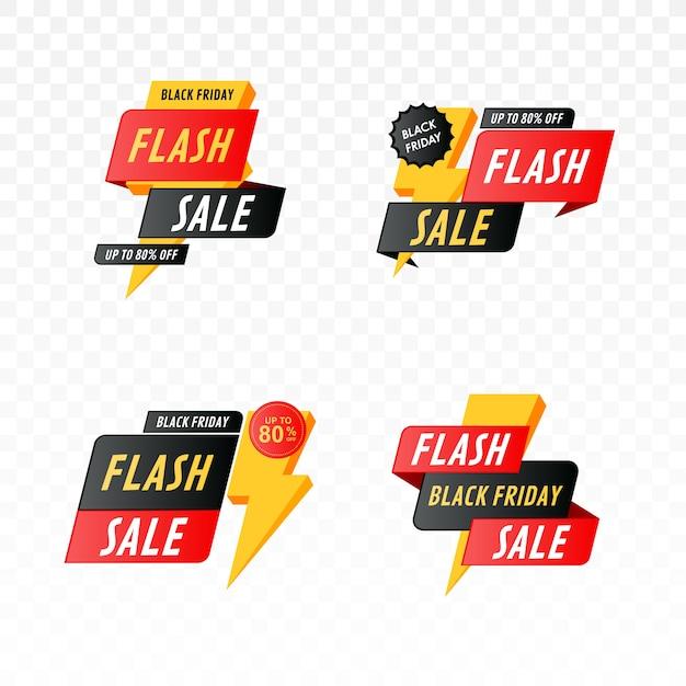 Banner di vendita flash del black friday con set di fulmini Vettore Premium