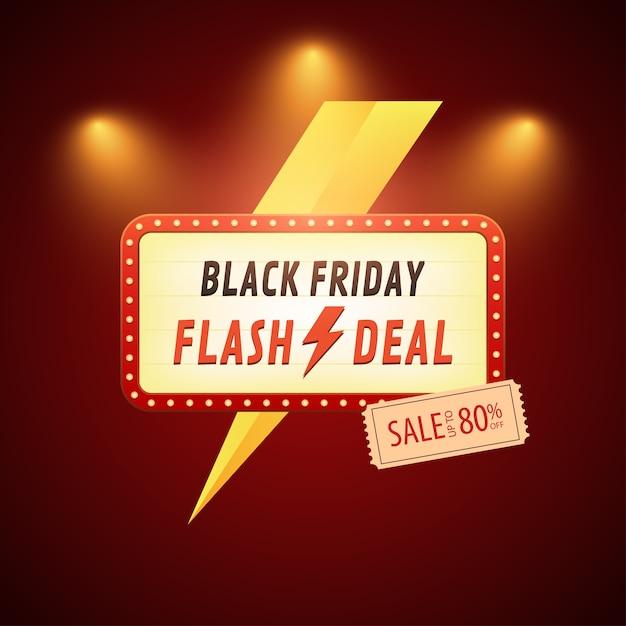 Banner di vendita flash del black friday con fulmini Vettore Premium
