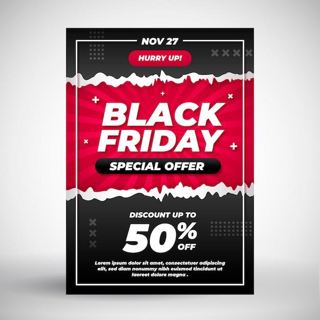 Modello di volantino venerdì nero in design piatto Vettore Premium