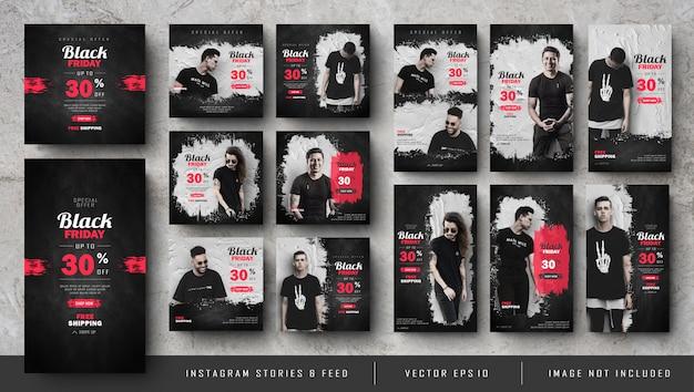 Storie di black friday e set di banner quadrati Vettore Premium