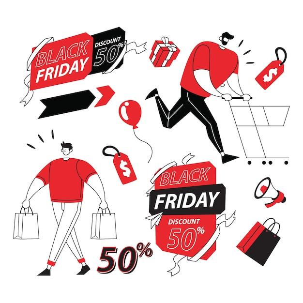 Illustrazione del black friday item for sale Vettore Premium
