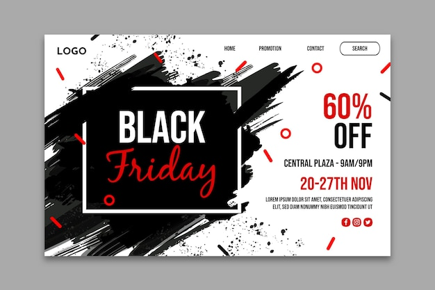 Pagina di destinazione del venerdì nero Vettore Premium