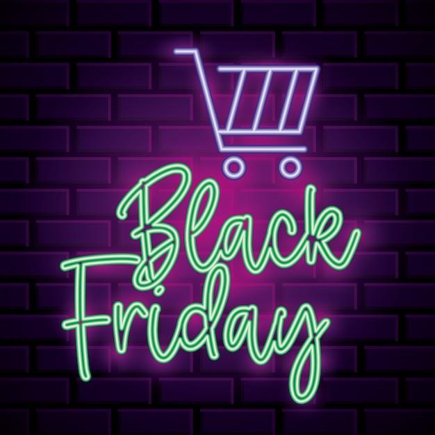 Insegna al neon del venerdì nero con automobile del mercato sopra la priorità bassa del muro di mattoni Vettore Premium