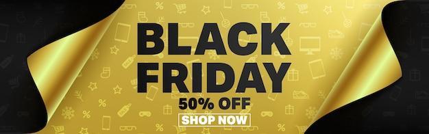 Black friday poster o banner con carta da regalo aperta. Vettore Premium