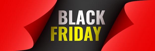 Poster del black friday. nastro rosso con bordi curvi su sfondo nero. etichetta. illustrazione. Vettore Premium