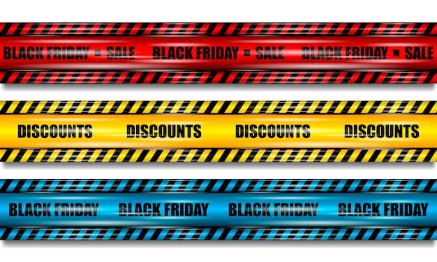 Nastri del black friday, nastro rosso, giallo e blu realistico con riflessi su sfondo bianco isolato Vettore Premium
