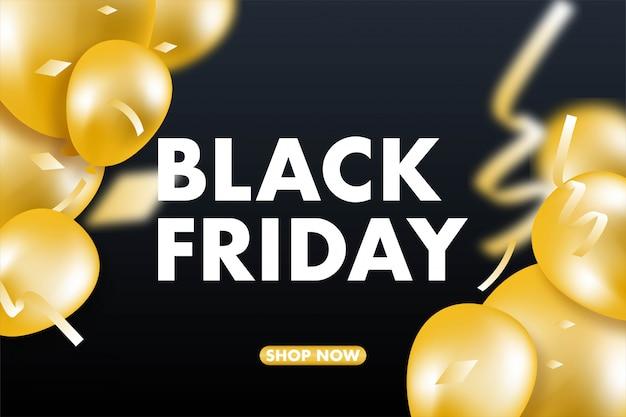 Banner, palloncini e coriandoli di vendita del black friday. Vettore Premium