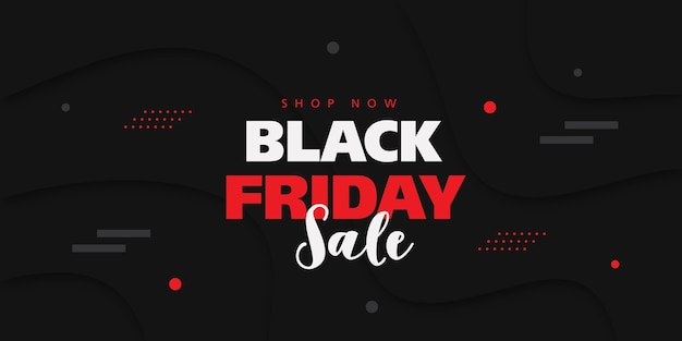 Banner di vendita del black friday con sfondo in stile 3d. Vettore Premium