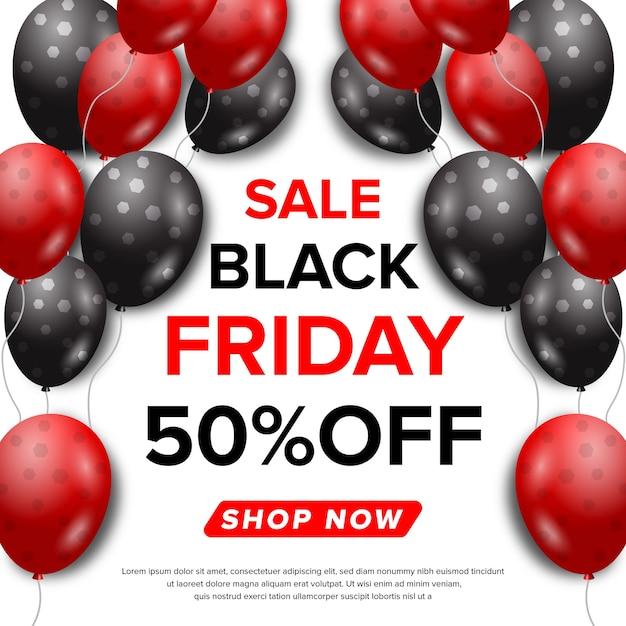 Banner di vendita venerdì nero con concetto di ballon Vettore Premium