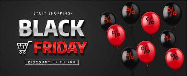 Banner di vendita venerdì nero con palloncini. Vettore Premium