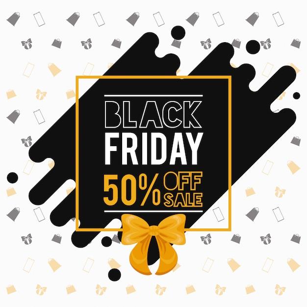 Banner di vendita venerdì nero con decorazione papillon Vettore Premium