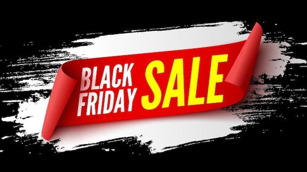 Banner di vendita venerdì nero con nastro rosso e pennellate bianche. illustrazione vettoriale. Vettore Premium