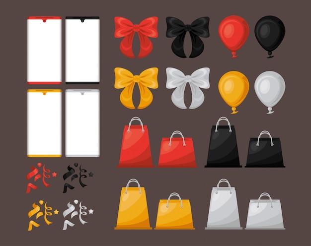 Banner di vendita venerdì nero con set di icone Vettore Premium