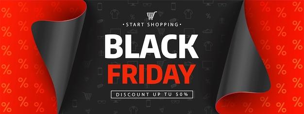 Modello di disegno di vendita venerdì nero. iscrizione di vendita del black friday sulle icone dello shopping. Vettore Premium