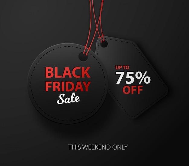 Fondo di sconto di vendita di black friday per la pubblicità commerciale. etichette 3d nere Vettore Premium