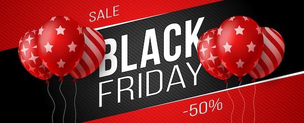 Banner orizzontale di vendita venerdì nero con palloncini lucidi rossi e scuri su sfondo nero con posto per testo. illustrazione. Vettore Premium