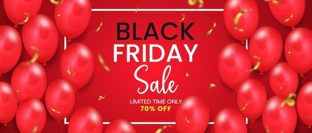 Banner orizzontale di vendita venerdì nero con palloncini lucidi Vettore Premium