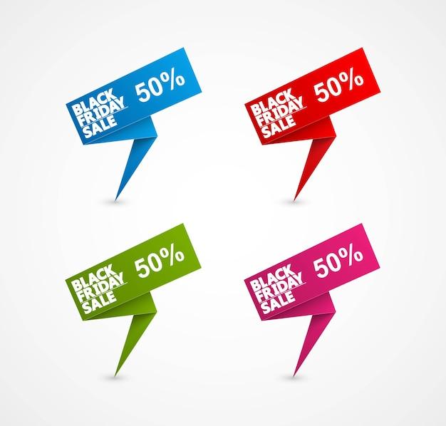 Illustrazione dell'etichetta di vendita del venerdì nero Vettore Premium
