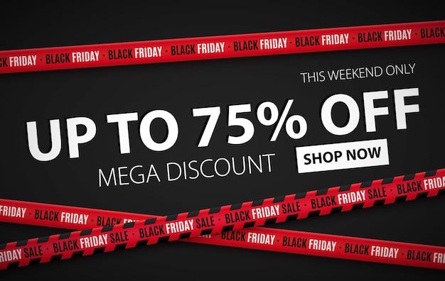Modello di banner llustration vendita venerdì nero Vettore Premium