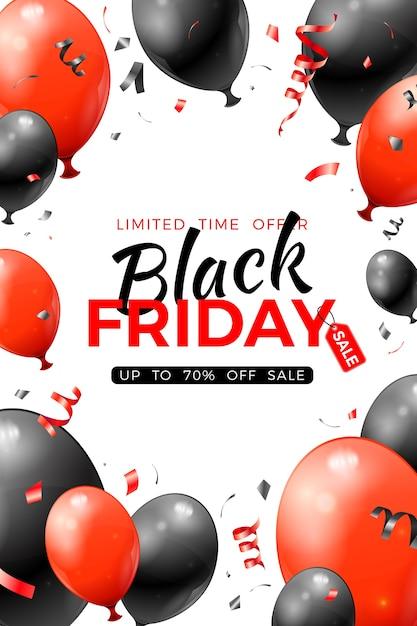 Manifesto di vendita del black friday con palloncini rossi e neri lucidi e coriandoli. Vettore Premium