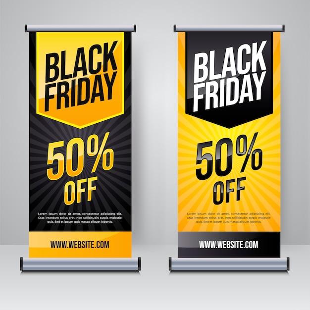 Modello di banner roll up o x di vendita del black friday Vettore Premium