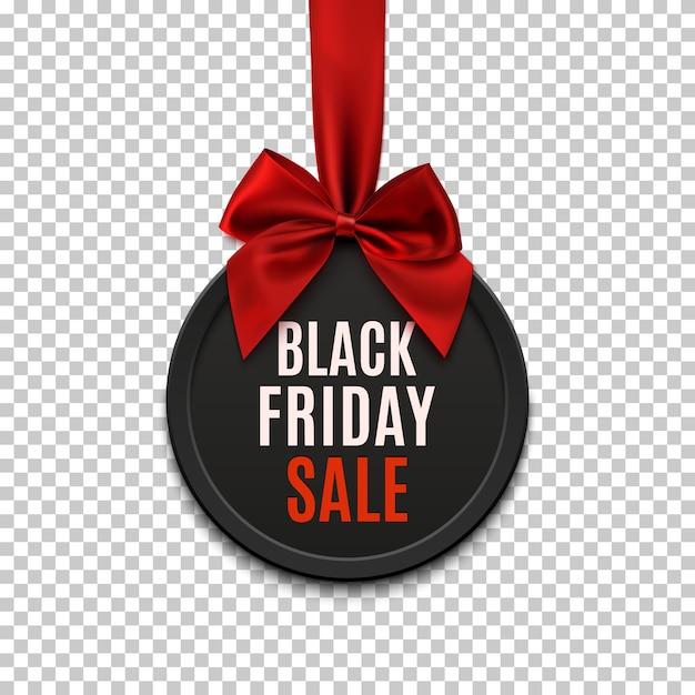 Bandiera rotonda di vendita di venerdì nero con nastro rosso e fiocco, su sfondo bianco. Vettore Premium