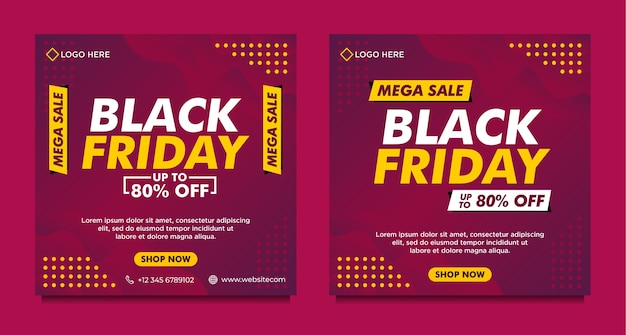 Modello di banner di social media di vendita del black friday con stile sfumato viola Vettore Premium