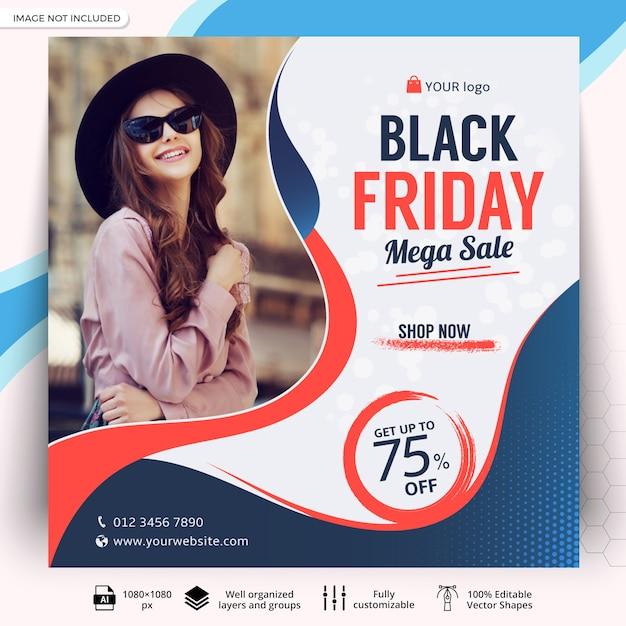 Post di social media vendita venerdì nero Vettore Premium