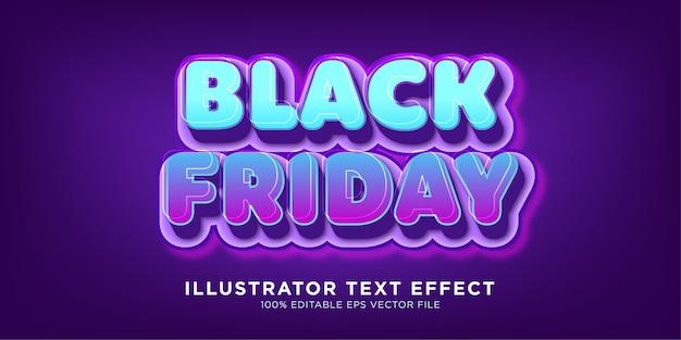 Effetto di testo di vendita del black friday Vettore Premium