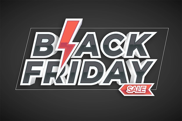 Vendita del black friday con il concetto di effetto per il mercato alla moda di promozione di flayer e banner online Vettore Premium
