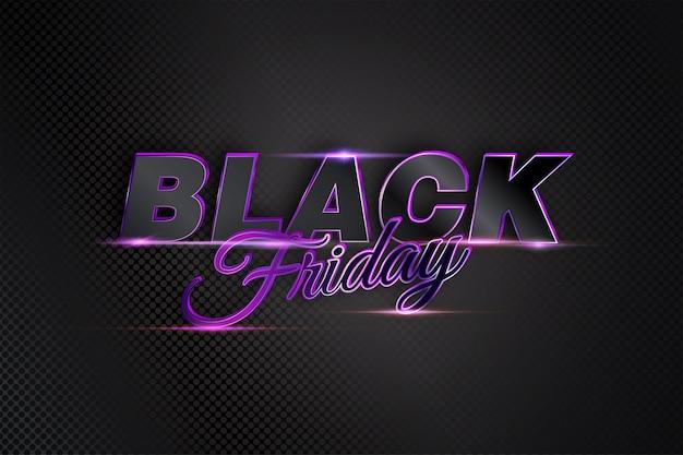 Vendita venerdì nero con testo vibrante moderno e chiaro scuro per la promozione di banner Vettore Premium