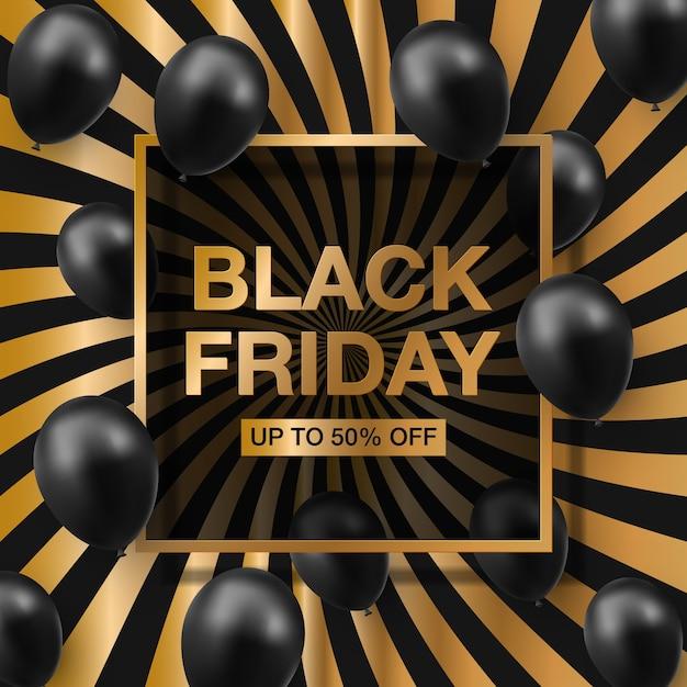Vendita venerdì nero con palloncini lucidi con cornice quadrata dorata. Vettore Premium