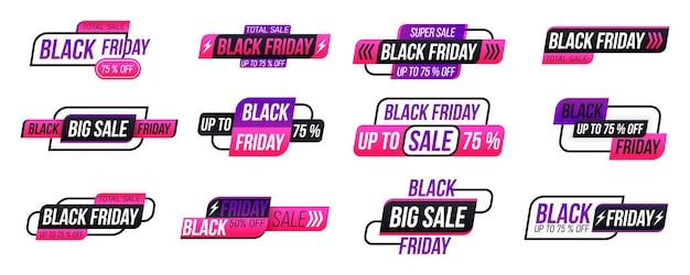 Etichetta dello shopping venerdì nero su sfondo bianco. collezione di tag del black friday. Vettore Premium