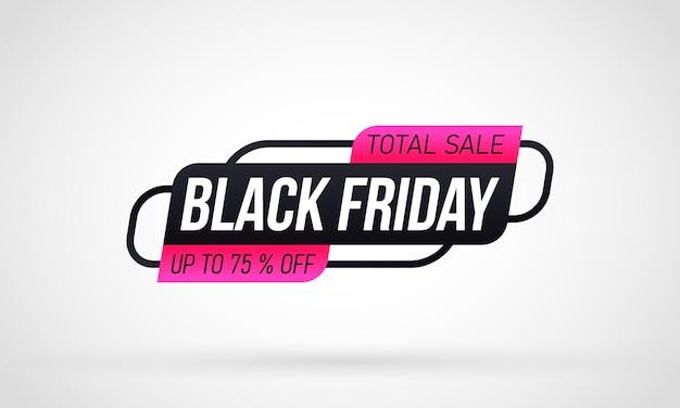 Etichetta dello shopping venerdì nero su sfondo bianco Vettore Premium