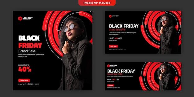 Modello di banner per social media del black friday Vettore Premium