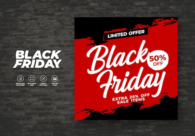 Modello di banner post feed per i social friday del black friday Vettore Premium