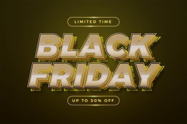 Venerdì nero con concetto di colore giallo neon a tema effetto 3d Vettore Premium