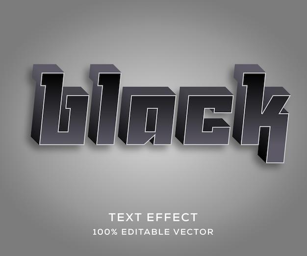 Effetto di testo completamente modificabile nero con stile alla moda Vettore Premium