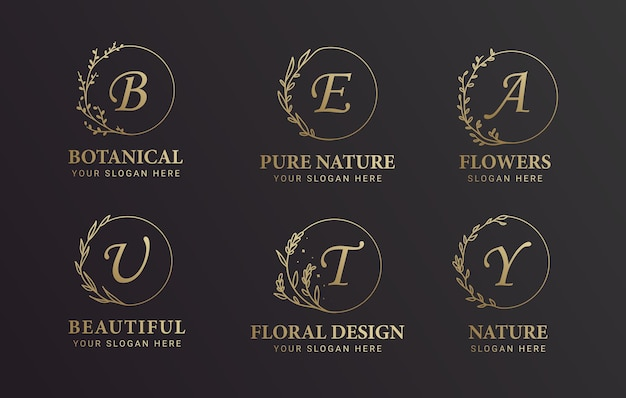 Insieme di disegno di logo botanico e fiore alfabeto nero e oro Vettore Premium