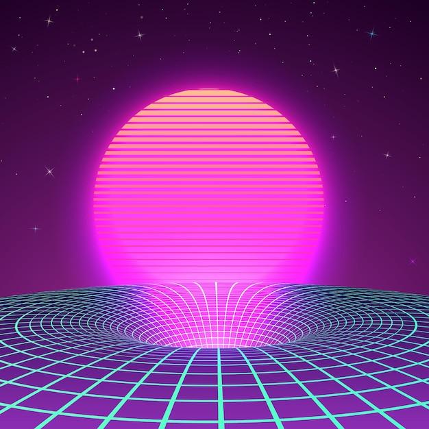 Black hole in colori neon degli anni '80 o '90 Vettore Premium